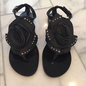 Giuseppe Zanotti leather flower sandals